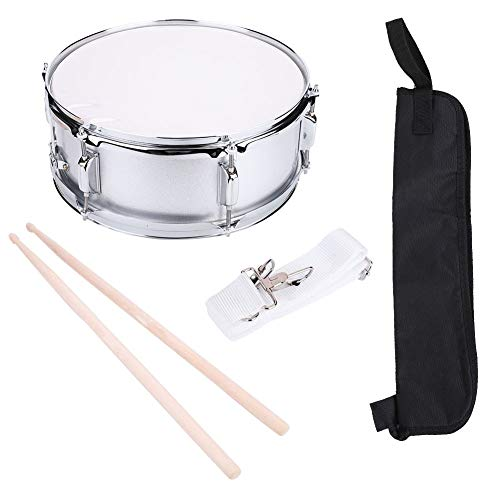15.7 x 6.1inch Stainless Steel Marching Snare Drum Kit Concert Percussion Musical Instrument with Carrying Bag Drumstick Adjustable Strap Silencer Mute for Beginner Students Snare Drum Kit
