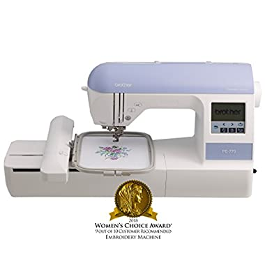 "Brother Embroidery Machine, PE770, 5"" x 7"" Embroidery Machine with Built-in Memory, USB Port, 6 Lettering Fonts, 136 Built-in Designs"