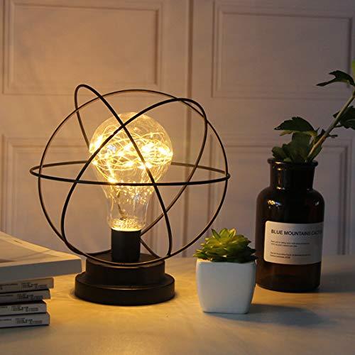 Metall Tischlampe,SUAVER Glühbirne Nachtlicht Nachttischlampe Stehlampe,Batteriebetrieben Nordic Style Eisen Schreibtischlampe kreative Nachtlicht dekorative Beleuchtung (Erde)