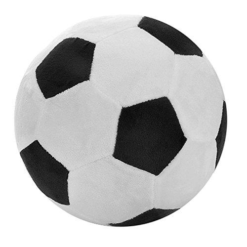 SODIAL Fussball Sport Ball Throw Pillow gefuellt Weichen Pluesch Spielzeug Fuer Kleinkind Baby Jungen Kinder Geschenk, 8 Zoll L x 8 Zoll W x 8 Zoll H, schwarz