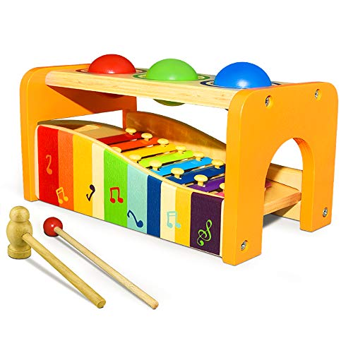 TOPTOY Musical Toys for Toddlers 1-4, Xylophone Educational Toys for 1-4 Year Old Baby Boys Toys for 6-18 Months Toddlers Birthday Present Prizes Wooden Musical Toys for Toddlers WMPT11
