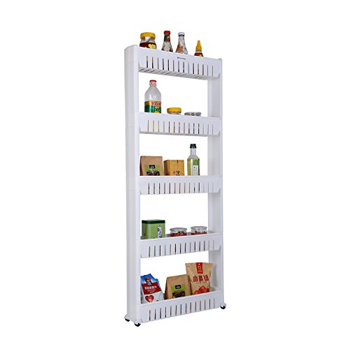 Home-Man Laundry Room Organizer Mobile Shelving Unit Organizer with 5 Large Storage Baskets Gap Storage Slim Slide Out Pantry Storage Rack for Narrow Spaces