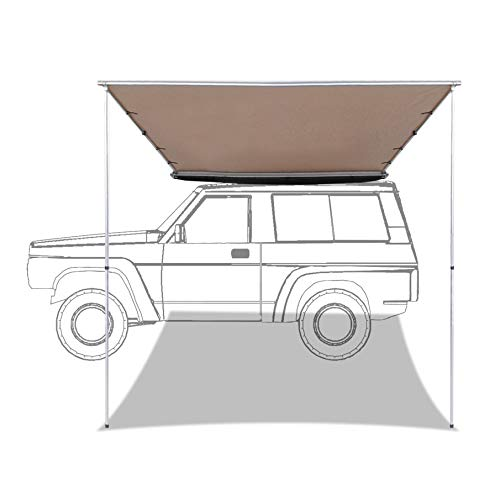 labworkauto Side Awning Retractable SUV Rooftop Side Tent Shelter Waterproof UV Protective Fit for Outdoor Camping Travel 7.6ft x 8.2ft