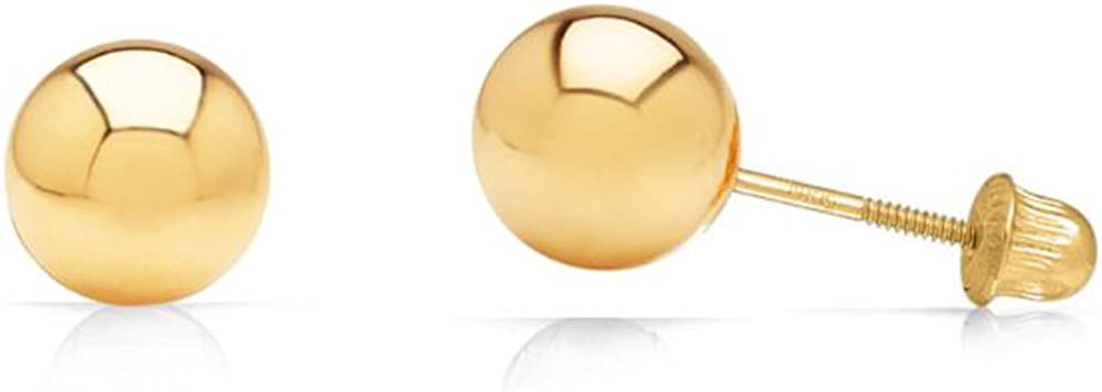 14k Yellow Gold Ball Stud Earrings with Secure and Comfortable Screw Backs