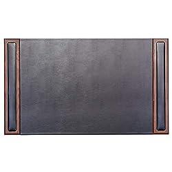 Dacasso Wood & Leather Desk Pad, 34 x 20, Walnut & Black