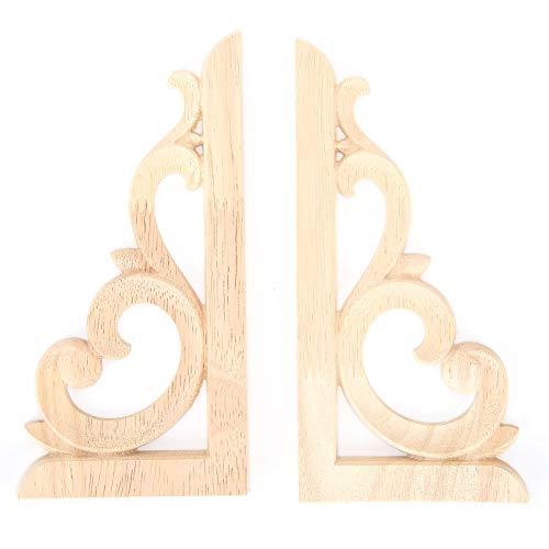 Rodipu Europäischer Stil Holz Eckaufkleber, unbemalter Aufkleber DIY Gummi Holz 2 Stück Eckapplikation, Möbel Dekoration für Zuhause