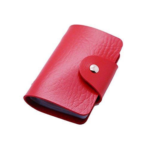 Hosaire Tarjetero Cartera Monedero Aleacion de Cuero para Mujer/Hombres 24 Bolsillos (Rojo)