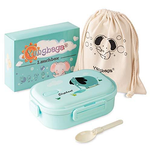 Yangbaga Fiambrera Infantil Acero Inoxidable-Caja de Bento Hermética con 2 Compartimentos y Cubiertos para Niño,Escuela,Bocadillos y Picnic (Azul) 700ml…