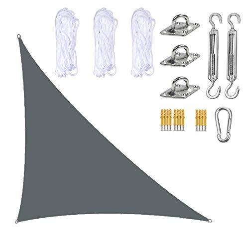 ZJM Vela De Parasol Gris, Tela De Refugio para Toldo con Dosel Triangular Derecho con Kit De Fijación, 95% De Bloqueo UV, Garaje para Jardín Y Patio Al Aire Libre,3x4x5M