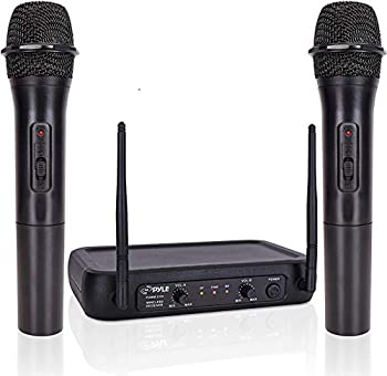 Pyle Channel Microphone System-VHF Fixed Dual Frequency Wireless Set with 2 Handheld Dynamic Transmitter Mics Receiver Base-for PA Karaoke Dj Party  PDWM2135   Black