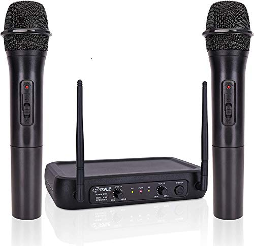 Pyle Channel Microphone System-VHF Fixed Dual Frequency Wireless Set with 2 Handheld Dynamic Transmitter Mics, Receiver Base-for PA, Karaoke, Dj Party (PDWM2135) , Black