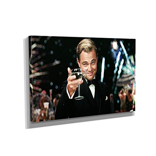 The Great Gatsby Leonardo Dicaprio - Canvas Wall Art Framed Print Various Sizes (12in x 18in Gallery Wrapped)