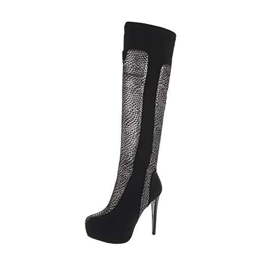 Ital-Design Damenschuhe Stiefel Overknees Synthetik Schwarz Silber Gr. 40