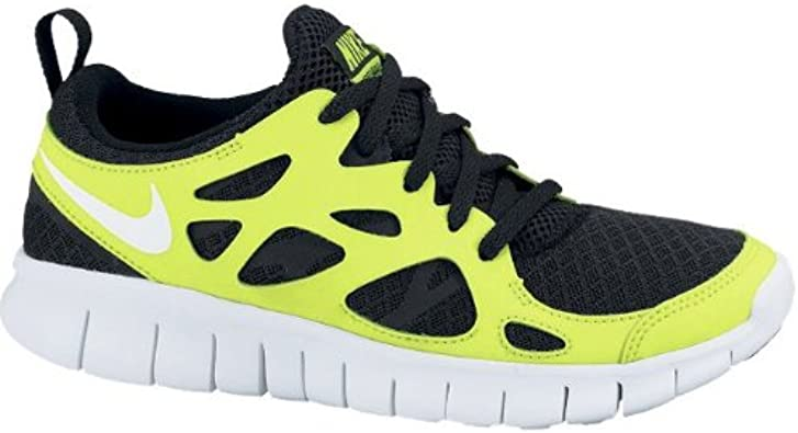 Amazon.com: Nike Free Run 2.0 GS Volt Black White Youth Light ...