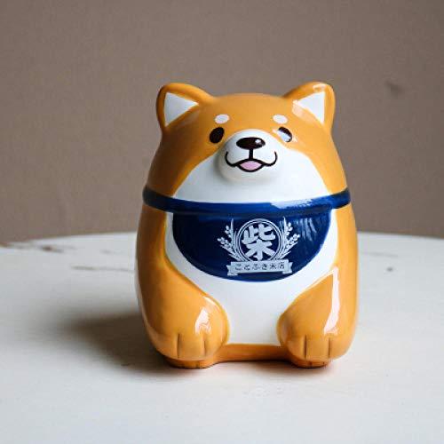 MINGYUE Cerámica Shiba Inu Hucha/Fiel Perro guardián pequeña bóveda/Hucha decoración del hogar