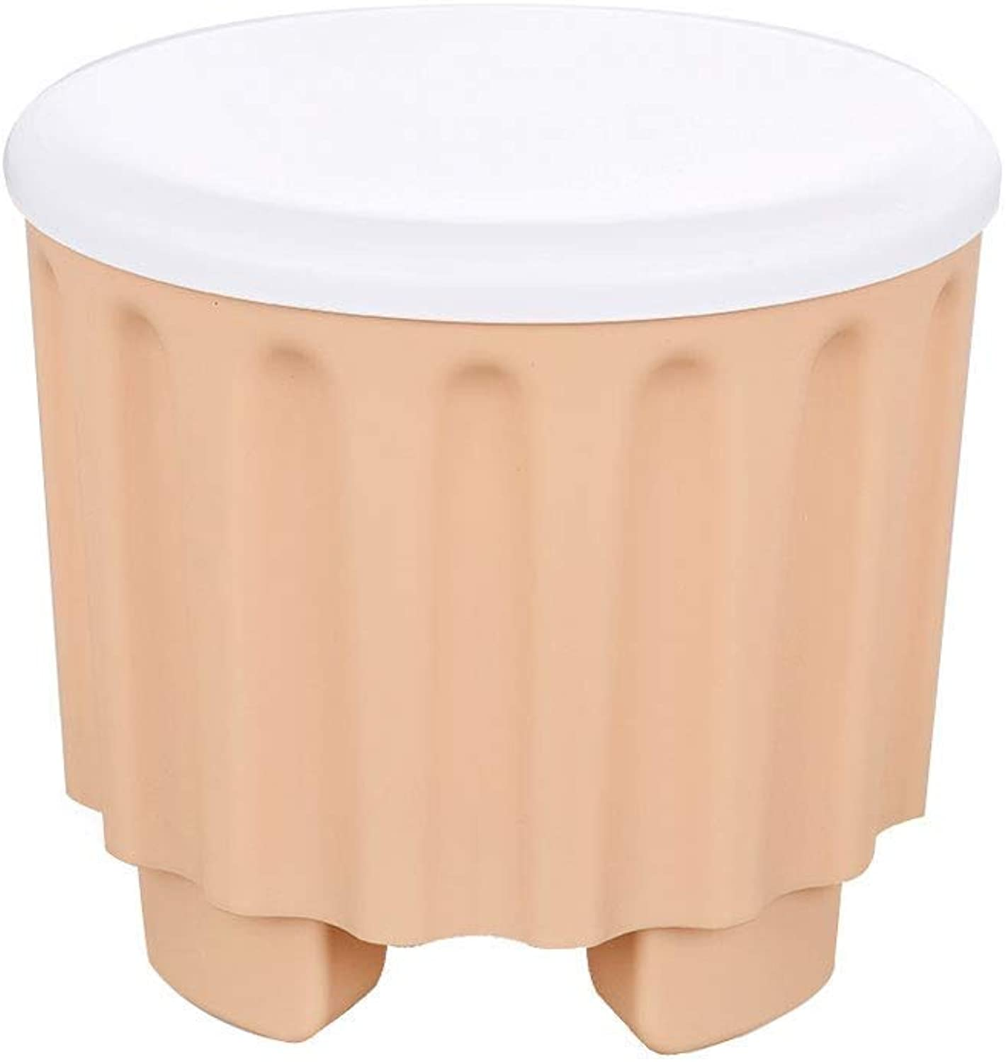 Storage Stool Small Stool Storage Box Plastic Change shoes Bench Sofa Stool JINRONG (color   Tan)