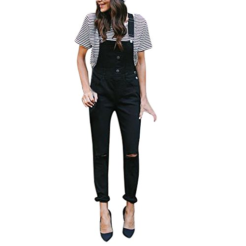 NPRADLA Damen Long Strap Pants Herbst Loose Denim Latzhose Overalls Hipster Button Jeans Damen Denim Freizeithose Jumpsuit(XL,Schwarz)