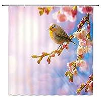 春の桜小鳥花枝自然風景浴室の窓の装飾のための生地のホックが付いているポリエステル防水シャワー・カーテン60X72in