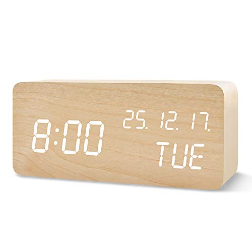 FiBiSonic LED Wecker Digital, Holzoptik Wecker Tischuhr mit 3 Einstellbare Helligkeit und Sprachsteuerung Uhrzeit anzeigen für Schlafzimmer Office Bambus