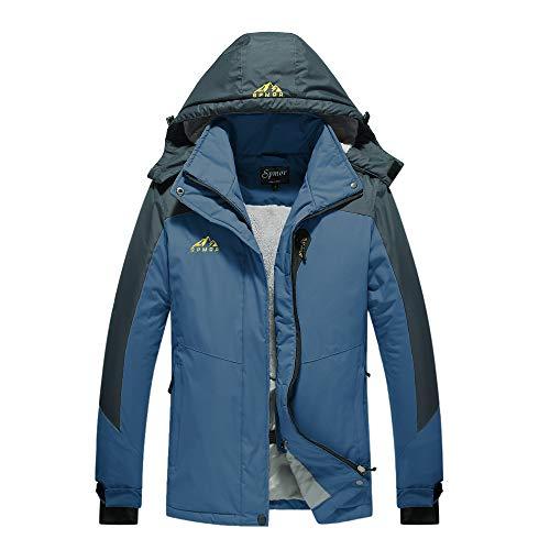 Spmor Damen Skijacke Fleece Jacke Mountain Regenmantel Winddicht Haut Kapuzenjacke - blau - Mittel