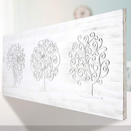 Mandala de Pared diseño arboles, Fabricada artesanalmente en España- Mandala 3D Cuadrada Pintada a Mano- Modelo Mosaico 263 (Blanco Envejecido, 60X120)