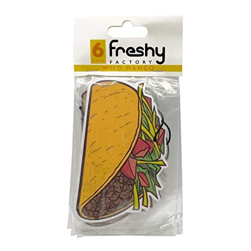 Taco Car Air Freshener by Freshy Factory - Mango Scent (6 Pack)