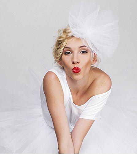 Haarband met witte tuitjes, voor bruiloft en vrijgezellenfeest.