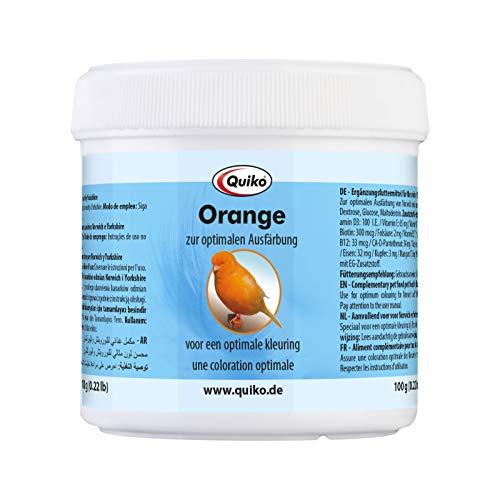 Quiko Orange 100g - Ergänzungsfutter für Norwich & Yorkshire Kanarien -Zur optimalen Orangefärbung & Farbintensivierung des Gefieders