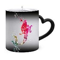 水彩アリエルリトルマーメイド Fish変色マグ温度感覚変色コーヒーカップセラミックカップ変色ミルクコーヒーカップカップルギフト330ml