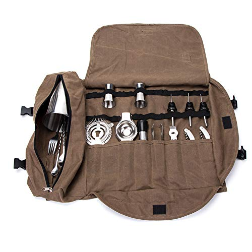 HANSHI Super Bartender Kit Roll Bag, Large Cocktail Set Roll, Waxed Canvas Bar Set Tool Organizer Secchio, Cocktail Tool Roll Up Pouch , Handy Small Tools Tote Carrier HGJ285