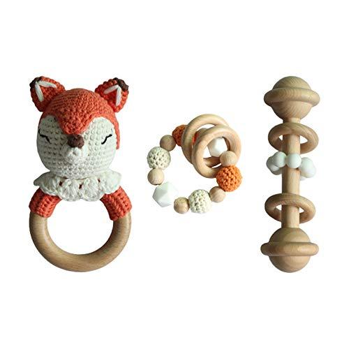 GLASSNOBLE Sonajero para bebés, chupete de bebé, cadena de dentición, pulsera de ganchillo, animal, mordedor de 3 piezas