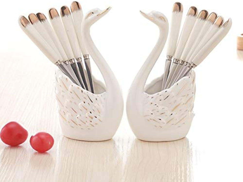 6PCS Fruits Forks Kit Swan Ceramic Dessert Forks Dinnerware Set   Two Sets