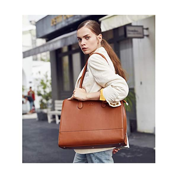 CLUCI Genuine Leather Briefcase for Women 15.6 Inch Laptop Vintage Large Ladies Business Work Shoulder Bags 2