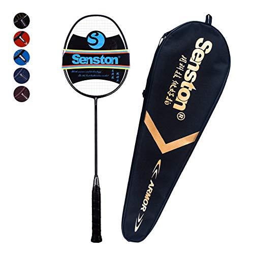 Senston Professional Woven Badminton Racket 100% Full Carbon High-Grade Badminton Racquet Including Racket Cover Black Color