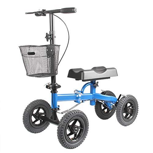 SSLW Andador De Rodilla Orientable, Carro De Cuatro Rodillos De Rodillas Ajustable Movilidad, con Ruedas Llenas De Aire De 13 Pulgadas, con Canasta Extraíble para Adultos Y Niños