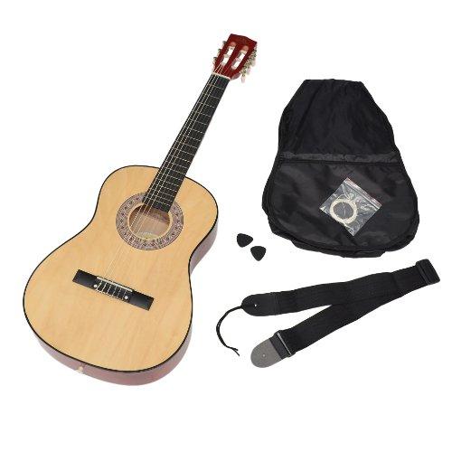 Ts-ideen guitarra clásica 3/4 para niños de 8 a 12 añs en natural con funda, cuerdas plectro y correa