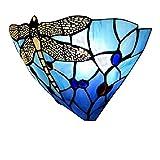 Tiffany aplique de pared E27 Lámpara de pared moderna cabecera cristal de vidrio Colorfull Libélula de diseño interior decorativa iluminación para pasillo del dormitorio de la lámpara de los niños