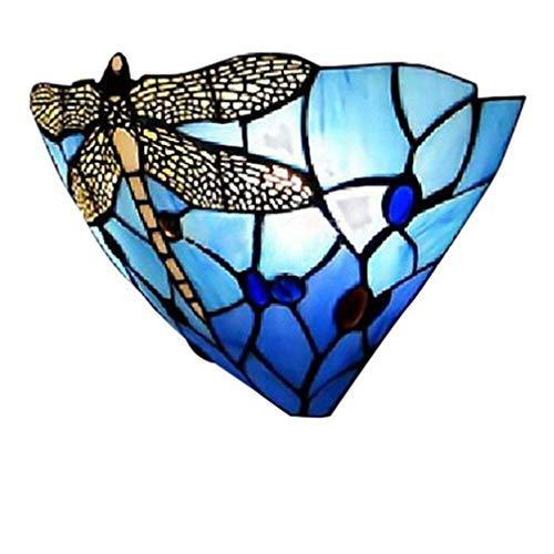 Tiffany aplique de pared E27 Lámpara de pared moderna cabecera cristal de vidrio Colorfull...