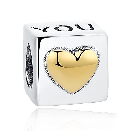 DIY 925 Plata De Ley San Valentín Cubo Te Amo Abalorios Que Se Ajustan A Las Pulseras Pandora Originales Collar Colgante Fabricación De Joyas