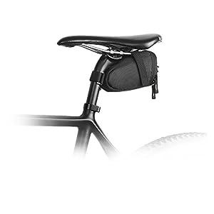 Haodene Bicicleta de montaña Bolsa de sillín Bolsa de Sillín para Bicicleta Alforjas Mochilas para Sillin Ciclismo para bicicleta Tija bolsa cola trasera Paquete Negro al aire libre