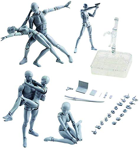 ABROBROKI Action Figures Body-Kun DX & Body-Chan DX PVC Figure Model Drawing for S H Figuarts with Box for Artists (Female+Male, Grey)