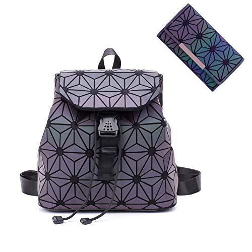 Geométrica luminosa mochila holográfica monederos y bolsos para las mujeres reflexivos bolsos cartera embrague conjunto