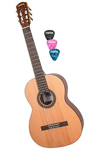 CASCHA 4/4 Konzertgitarre inkl. 3 farbigen Plektren I Klassische Gitarre für Anfänger & Kinder ab 10 Jahren I Akustik-Gitarre mit Nylon-Saiten - ideal zum Gitarre lernen I Classical Acoustic Guitar
