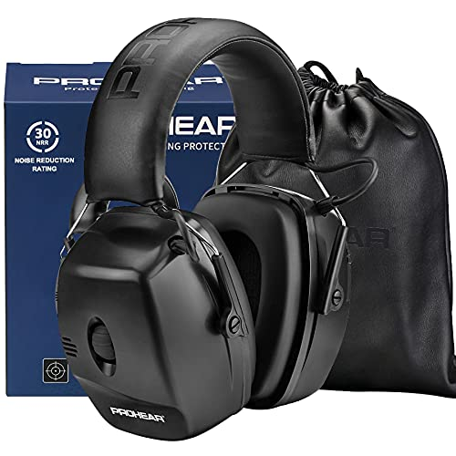 PROHEAR 056 30dB Highest NRR Digital Electronic Shooting Ear Protection Muffs, Sound Amplification 5 Times Noise Reduction Hearing Protector Earmuffs for Gun Range, Hunting, Airsoft - Black