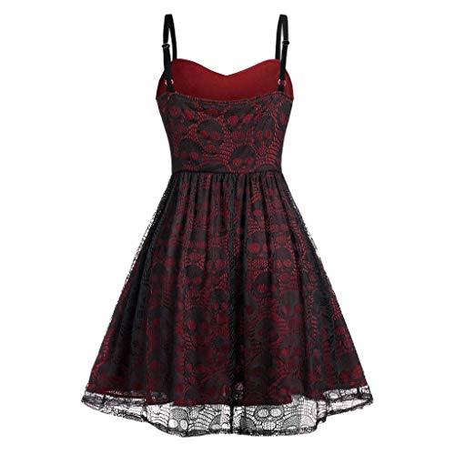 Zilosconcy Maxi Kleider Für Damen Sommer Gothic Kleid Palaststil Renaissance Kostüm Mesh-Sling aus Spitze für Halloween Fasching Karneval Hexe Vampire Gothic Cosplay Kostüm Ärmellos plissiert