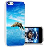 iPhone 5c Case Cool Cute,ChiChiC 360 Full Protective Anti Scratch Slim Flexible Soft TPU Gel Rubber Clear Cases Cover with Design for iPhone 5c,Blue Sea Cute Animal Dolphin Jump