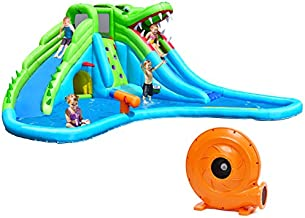 Costzon Inflatable Water Park, Giant 7 in 1 Crocodile Bounce House w/Two Water Slides, Climb Wall, Basketball Rim, Tunnel, Kids Water Pool, Including Carry Bag, Hose, Repair Kit (With 780W Air Blower)