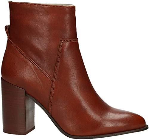BULLBOXER Damen Stiefeletten, Frauen Ankle Boots, Women Woman Freizeit leger Stiefel halbstiefel Bootie knöchelhoch Damen Lady,Cognac,39 EU / 6 UK