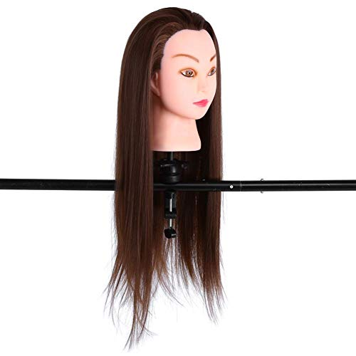 lyrlody Salon Kappers Training, 26 inch Salon Kappers Styling Training 30% Hoofd Echt Menselijk Haar Cosmetologie Lange Mannequin Manikin Pop met Klem Stand met Make-up Bruin