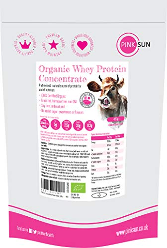 PINK SUN Organic Whey Protein Concentrate Powder Unflavoured 420g (80% Protein) Soy Free, Grass Fed, Gluten Free, Hormone Free, No Additives, Vegetarian, Undenatured, Non GM Certified Bio UK